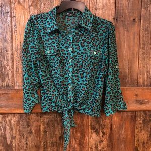Poof, L, Sheer Cropped Turquoise Leopard Blouse